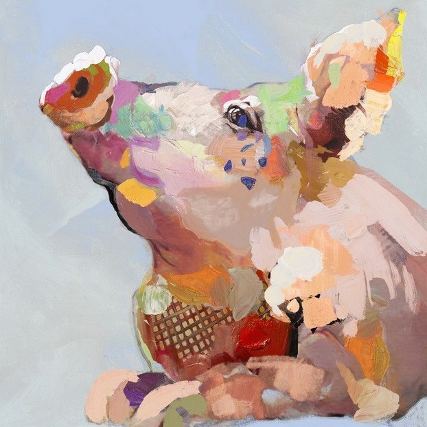 Abstract colorful painting dreaming pig portrait tattoo design