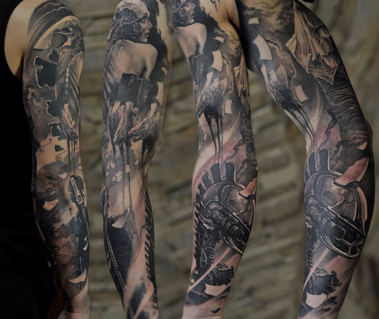 Abstract Full Sleeve Tattoo With Mechanical Elements By