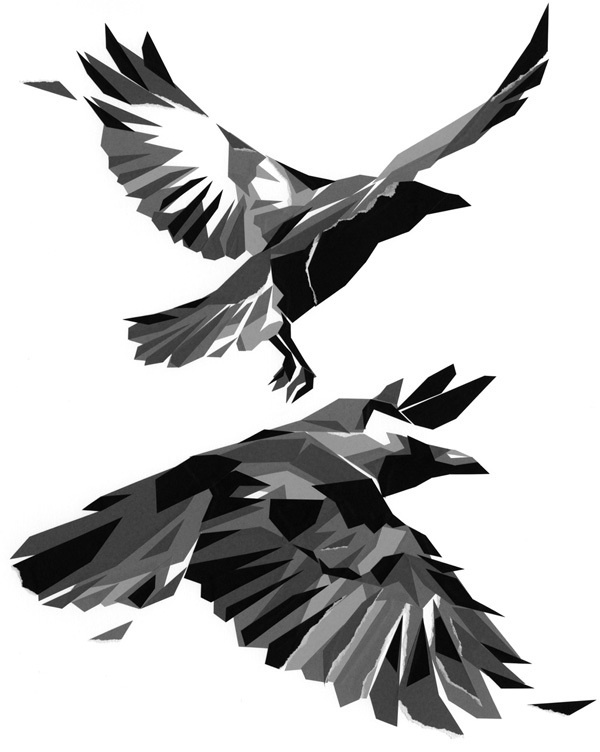Abstract geometric flying raven couple tattoo design