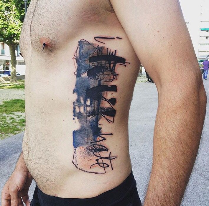 Abstract lettering tattoo by Minervas Linda