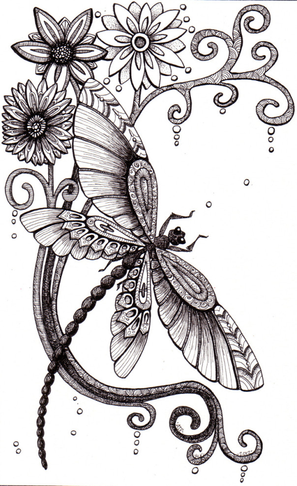 abstract mechanical dragonfly with flowers tattoo design