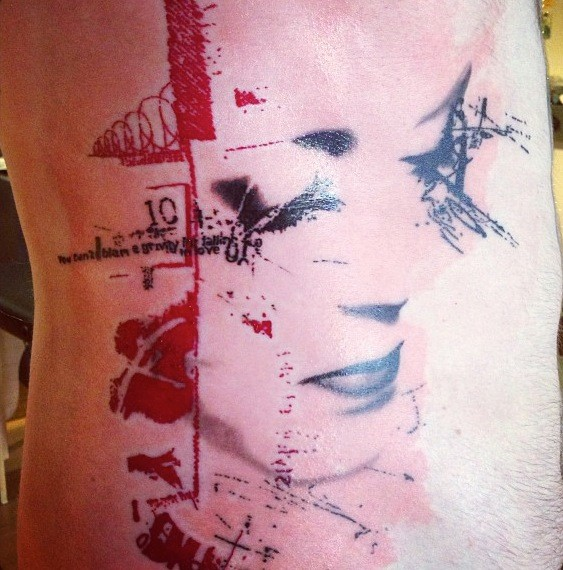 Abstract style colored side tattoo of woman face with numbers