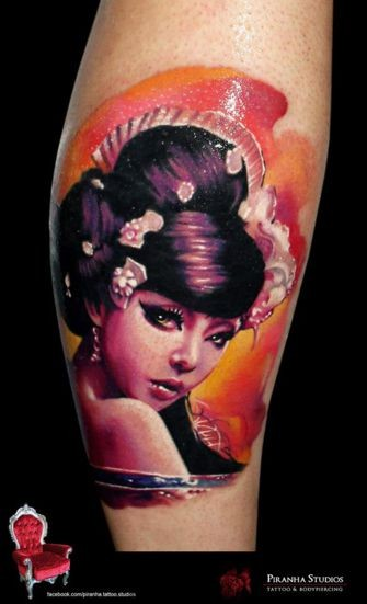 Acian traditional style colored leg tattoo of sexy geisha with flowers