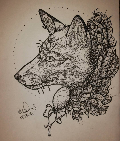 Admirable grey wolf in profile with herbal leaves tattoo design