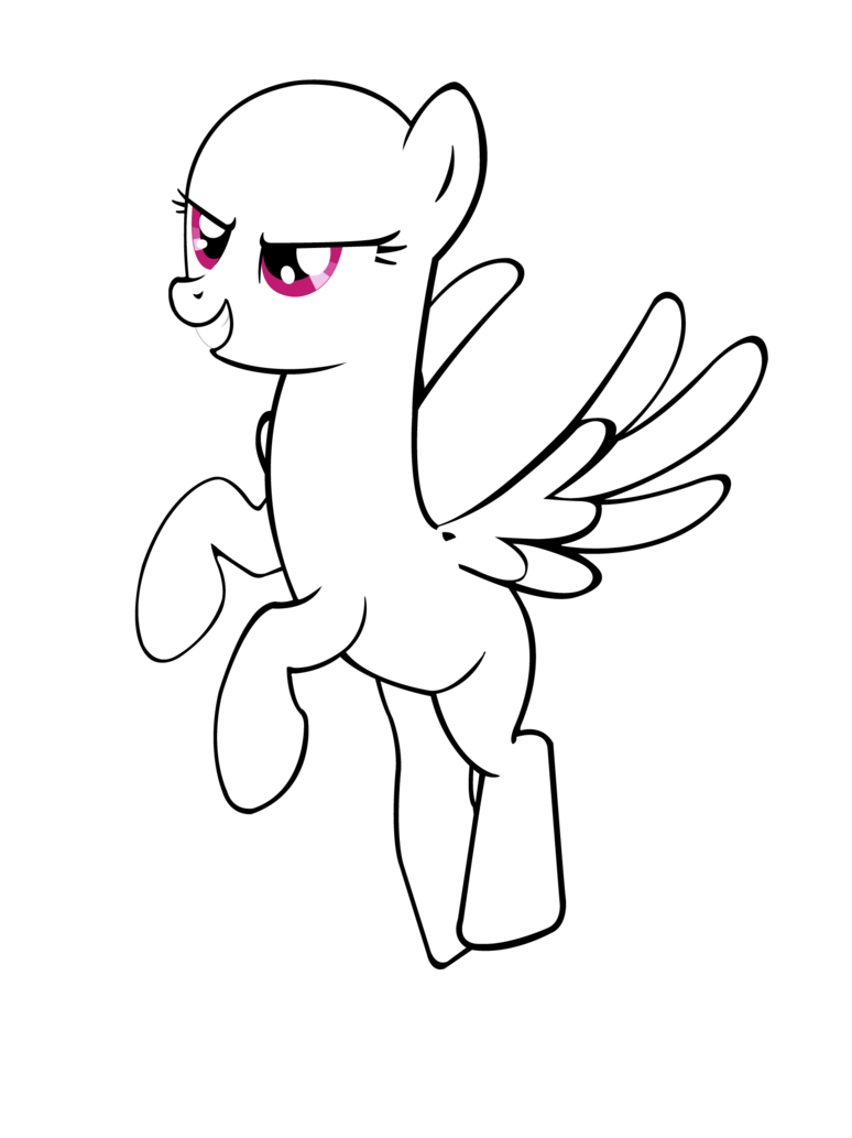 Agressive cartoon outline pegasus with pink eyes tattoo design by Master Rottweiler