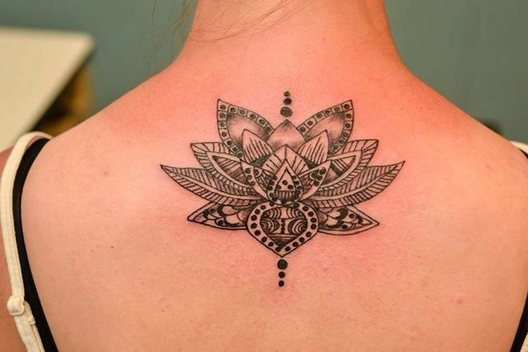 Amazing Black And White Tribal Lotus Flower Tattoo On Back