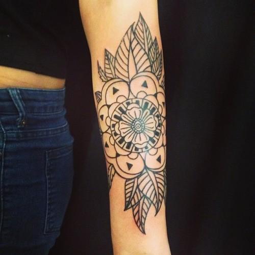 Amazing Black Contour Mandala Flower With Leaves Tattoo On Arm