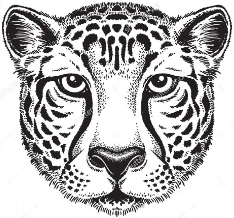 Amazing black-ink cartoon jaguar tattoo design