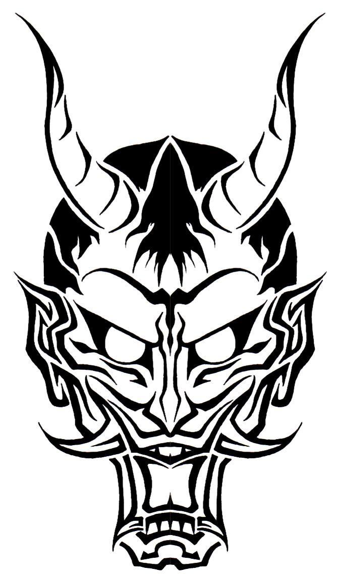 Amazing black-ink devil face tattoo design