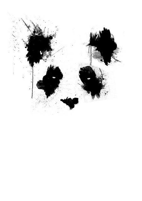 Amazing black-ink panda in smudges tattoo design