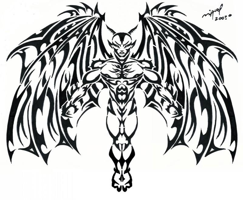 Amazing black tribal winged demon tattoo design by Mig Fernandez