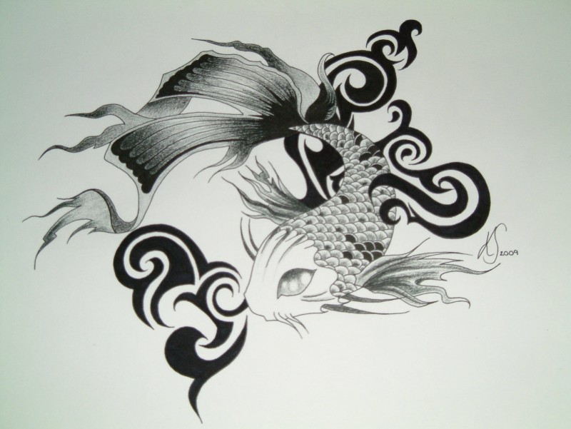 Amazing blak-and-white fish with tribal curls tattoo design