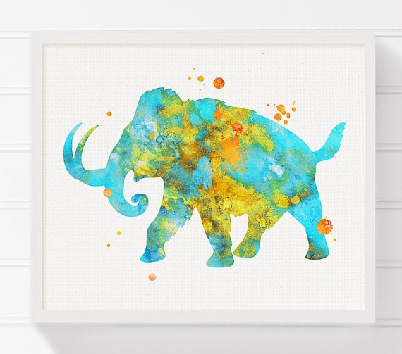 Amazing blue-and-yellow watercolor mammoth with splashes tattoo design
