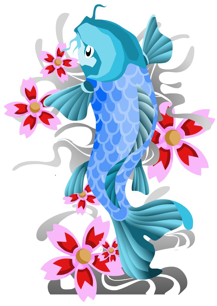 Amazing blue fish with pink cherry blossom tattoo design