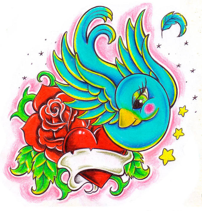 Amazing Cartoon Colorful Bird With Rose And Heart Tattoo