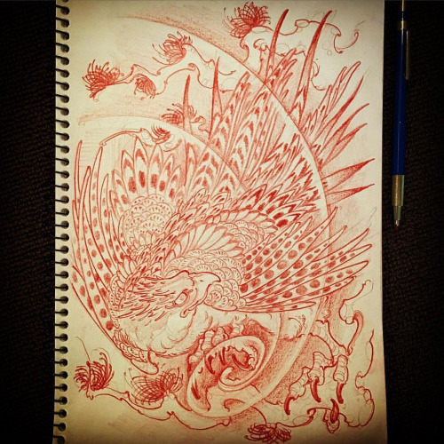 Amazing cartoon eagle in swirly smoke tattoo design