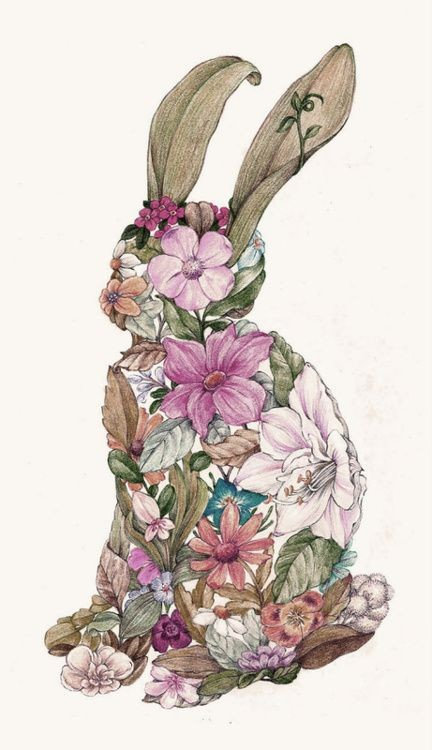 Amazing colored floral-printed sitting hare tattoo design