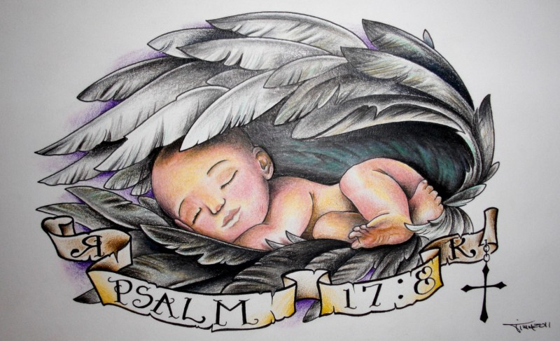 Amazing colored sleeping baby in large angel wings with memorial stripe tattoo design