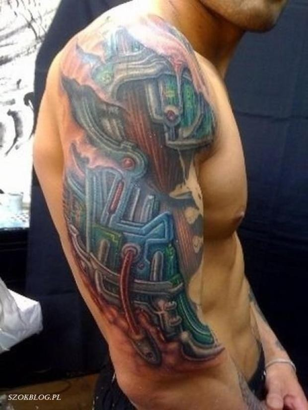 Amazing colored wired robot arm tattoo