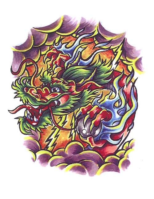 amazing colorful dragon in purple smoke tattoo design. Black Bedroom Furniture Sets. Home Design Ideas