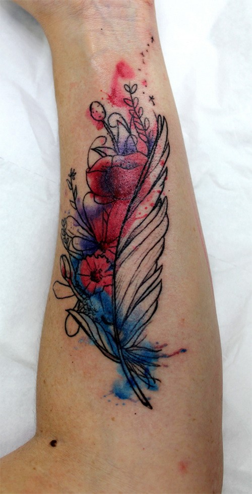 amazing colorful feather with flowers tattoo on arm. Black Bedroom Furniture Sets. Home Design Ideas
