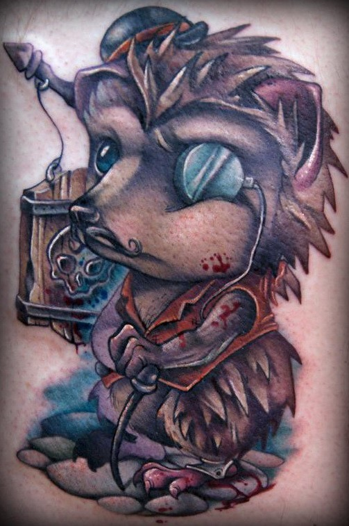 Amazing colorful killer-hedgehog tattoo