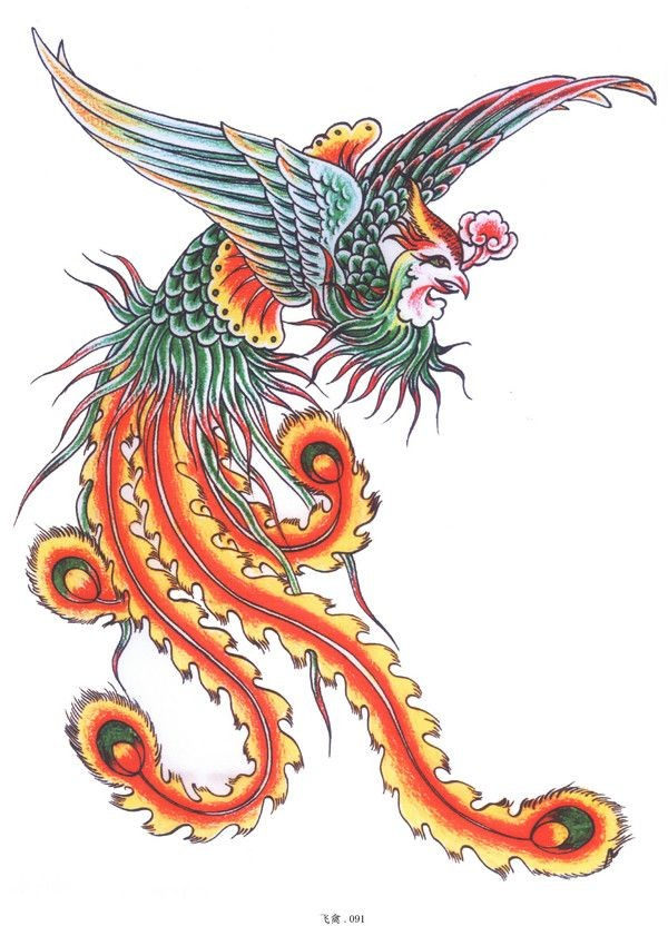 Amazing colorful phoenix keeping a flower in a beak tattoo design