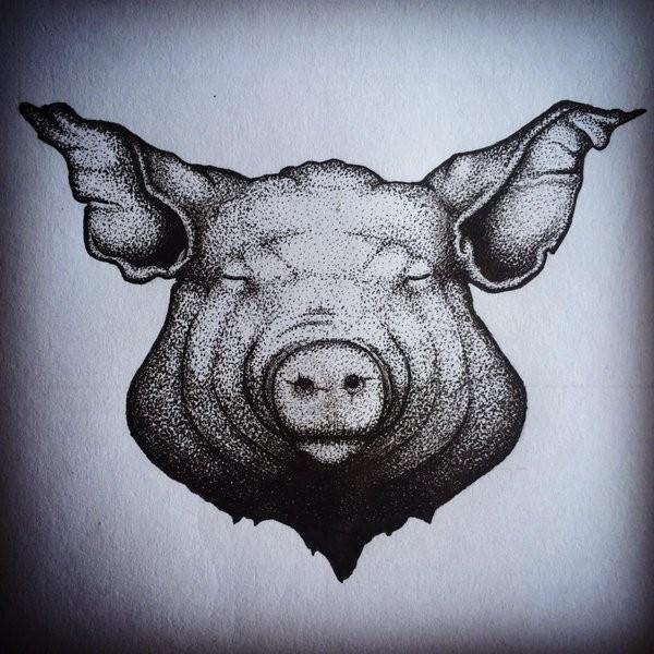 Amazing Dotwork Style Sleeping Pig Muzzle Tattoo Design