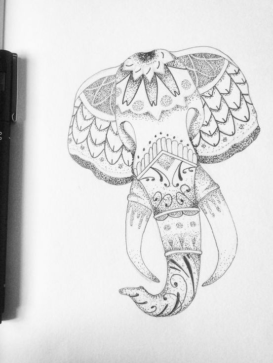Amazing dotwork elephant head with geometric ornament tattoo design