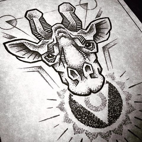 Amazing dotwork giraffe head and shining sun tattoo design