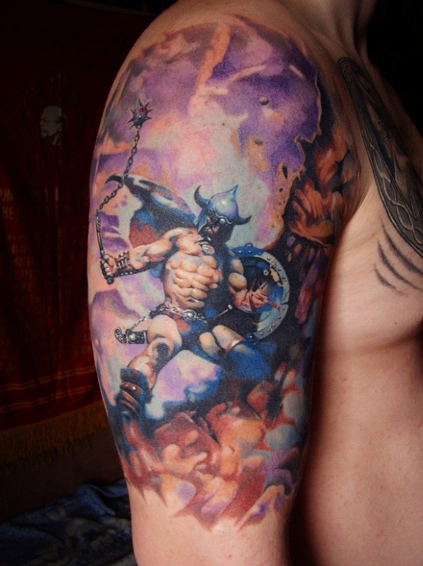 Amazing fighting warrior tattoo on shoulder