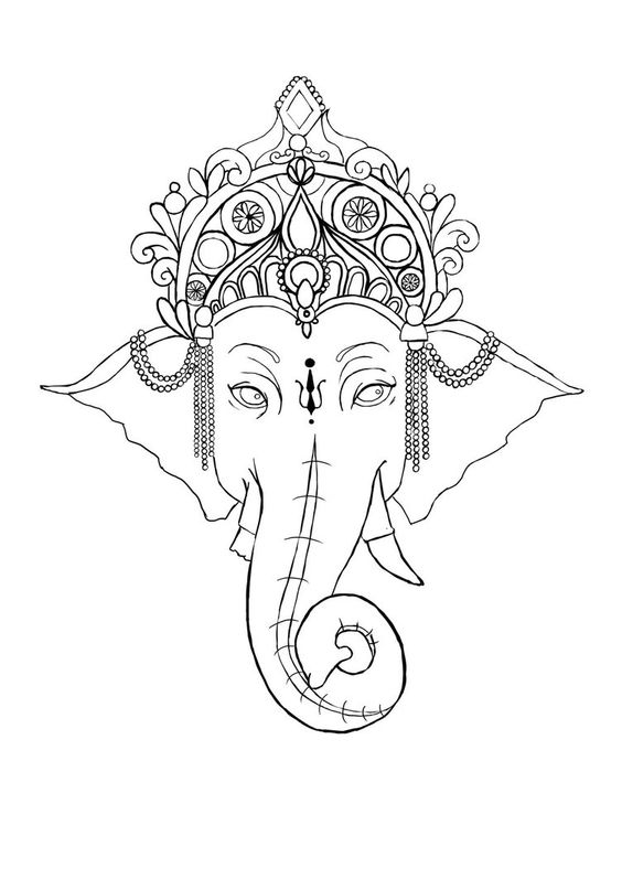 Amazing ganesha elephant head in decorated crown tattoo design