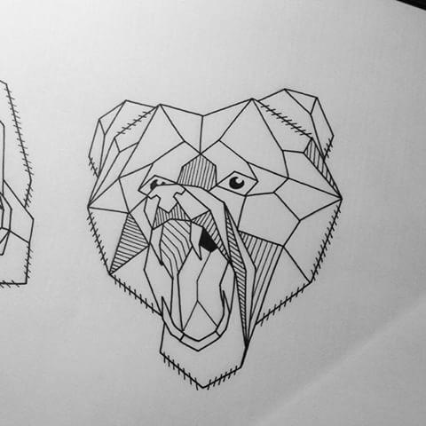 Amazing geometric roaring bear tattoo design