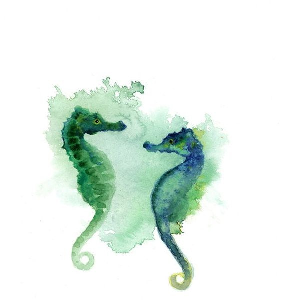 Amazing green-and-blue seahorse couple in green smoke tattoo design