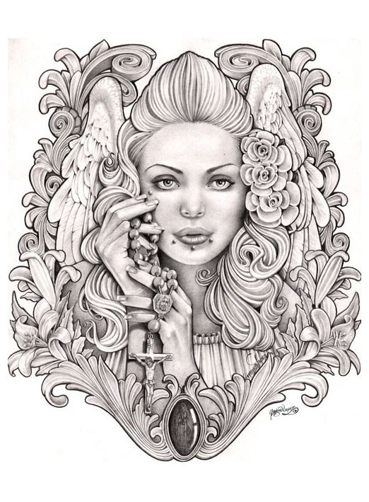 Amazing grey-ink angel woman portrait with a lot of decorations tattoo design