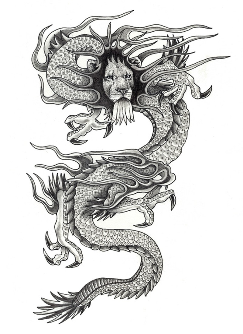 amazing grey ink asian lion head dragon tattoo design. Black Bedroom Furniture Sets. Home Design Ideas