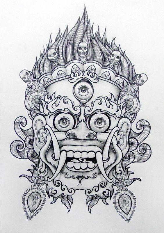 821ee4edb9aae Amazing grey-ink japanese demon mask tattoo design - Tattooimages.biz