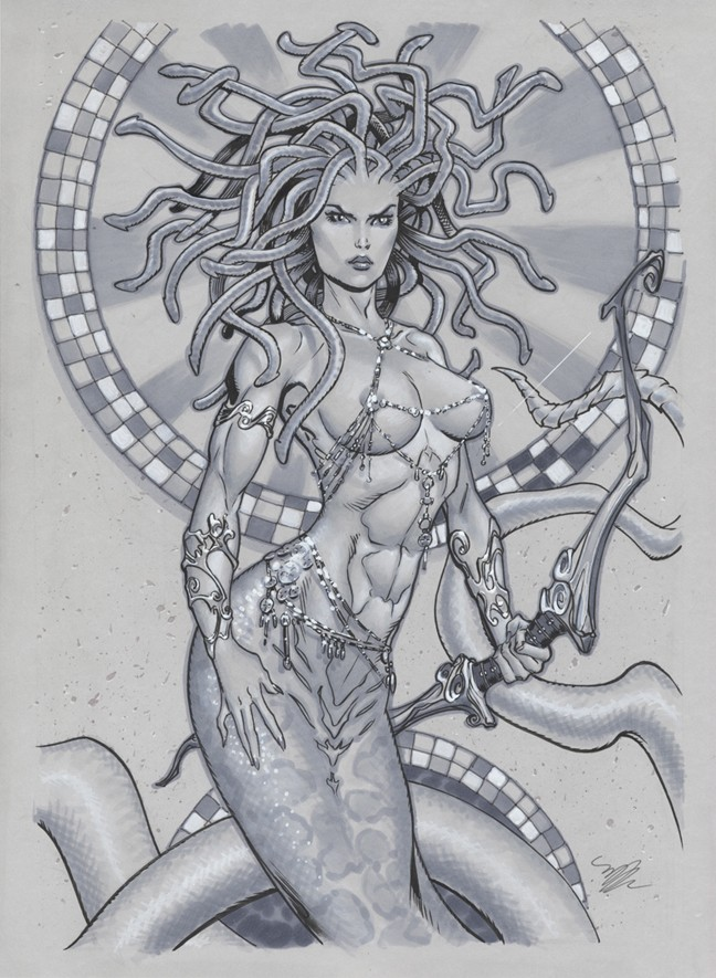 Amazing grey-ink standing medusa gorgona warrior with a big bow tattoo design