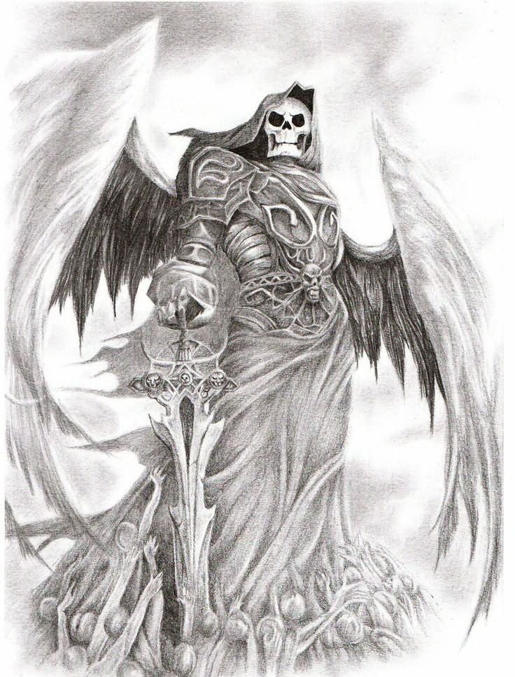 Amazing grey-ink winged death warrior with a hige heavy sword tattoo design