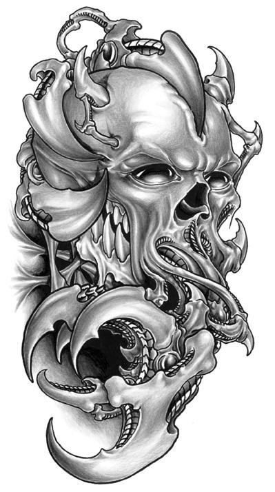 Amazing grey biomechanical demon skull with tentacles tattoo design