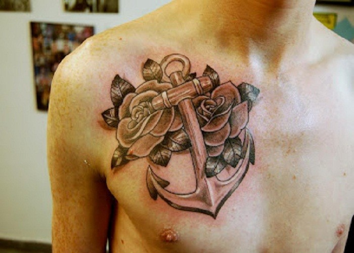 Amazing huge anchor with two roses tattoo for guys on chest