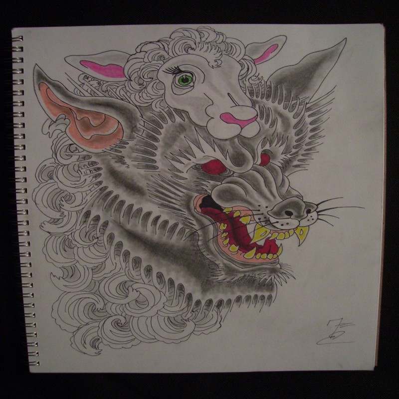 Amazing huge wolf head in sheep clothing tattoo design by Frankenthing