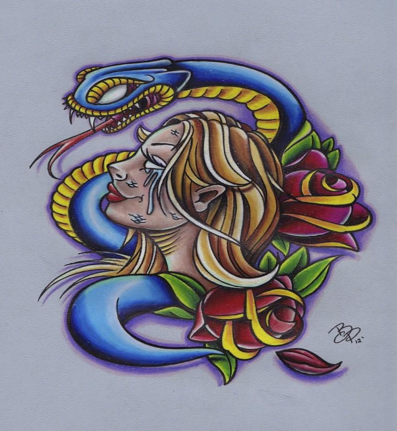 Amazing new school crying girl and snake tattoo design