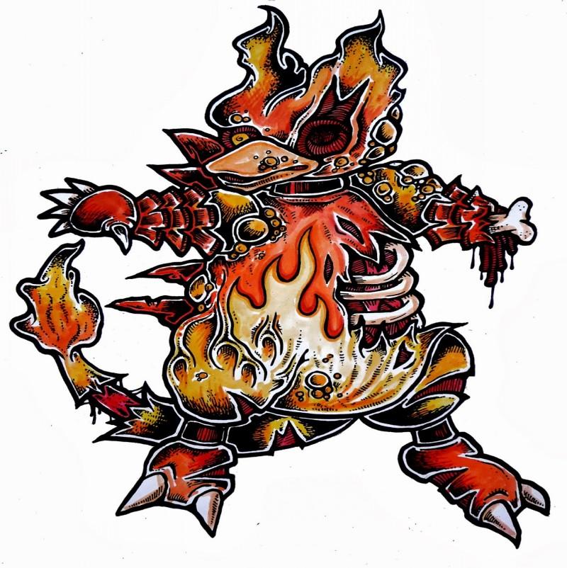 Amazing orange fire zombie pokemon tattoo design