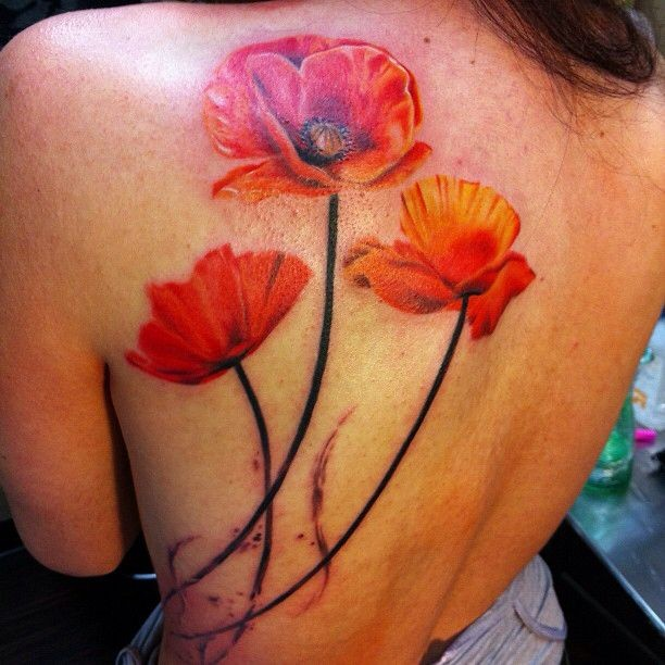 Amazing orange poppy flowers tattoo on back tattooimagesz mightylinksfo