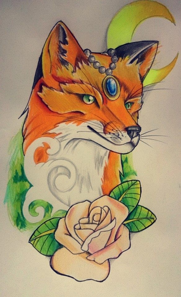 Amazing orange with gen decoration and yellow moon on background fox tattoo design