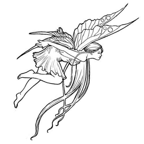 Amazing outline flying fairy tattoo design