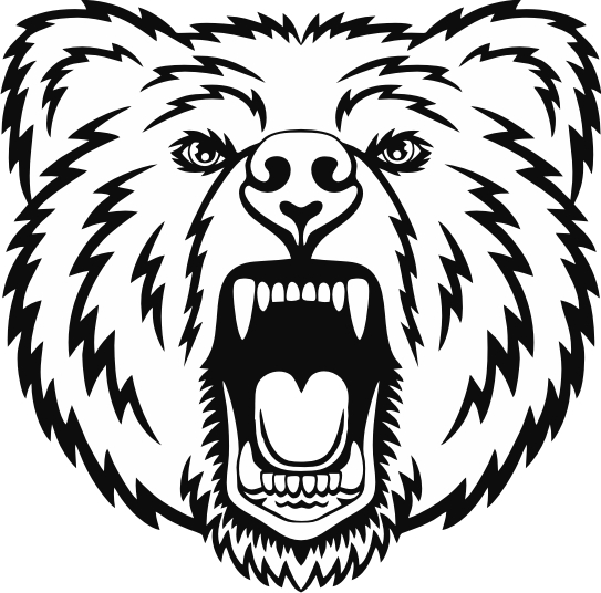 Amazing outline roaring bear head tattoo design