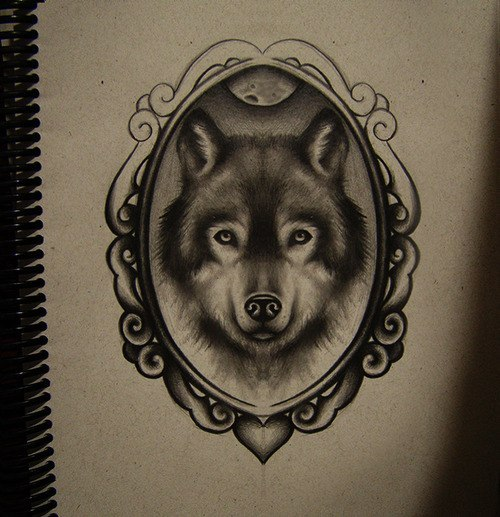 Amazing pencil wolf portrait in picture frame tattoo design