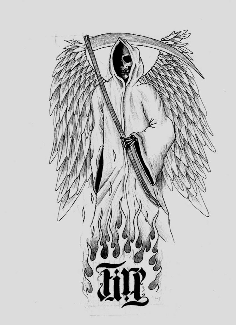 Amazing pencilwork angel-winged death with harsh lettering tattoo design